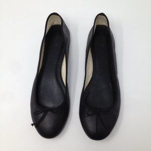 J. Crew Women Ballet Bow Black Leather Italy Shoes